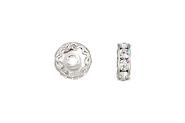 Sterling Silver Rondelle Spacer w/Crystal, 8.0mm