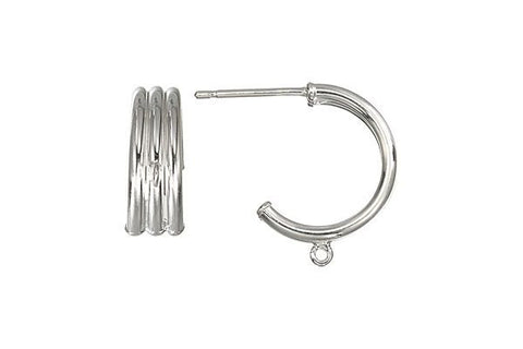 Sterling Silver 15.0mm Triple Hoop, 1.6x15.0mm