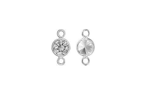 Sterling Silver White CZ Connector, 6.0mm