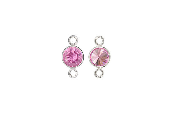 Sterling Silver Pink CZ Connector, 6.0mm