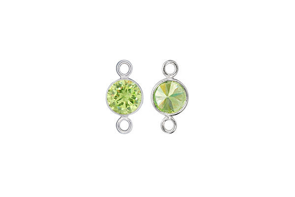 Sterling Silver Lime CZ Connector, 6.0mm