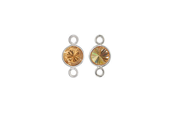 Sterling Silver Cognac CZ Connector, 6.0mm