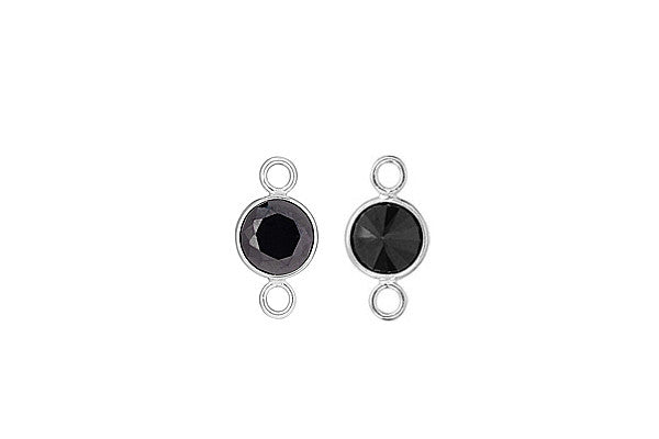 Sterling Silver Black CZ Connector, 6.0mm
