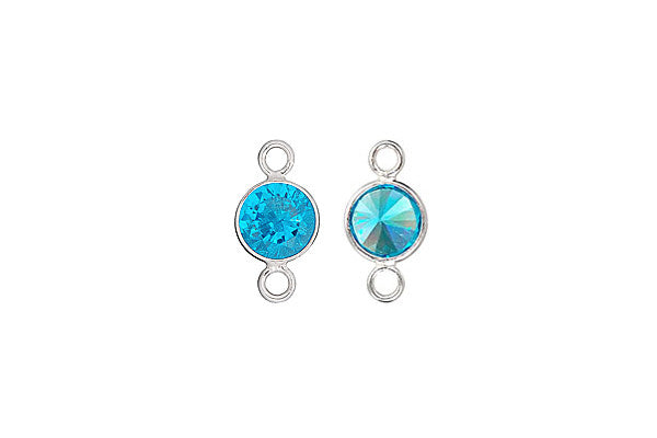 Sterling Silver Aqua Blue CZ Connector, 6.0mm