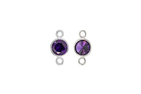 Sterling Silver Amethyst CZ Connector, 6.0mm