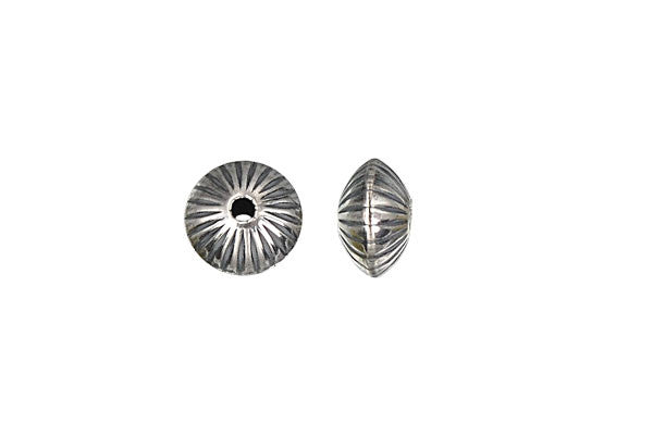 Sterling Silver Oxidized Corrugated Saucer Bead, 8.9x5.6mm