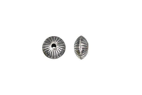 Sterling Silver Oxidized Corrugated Saucer Bead, 8.0x5.2mm
