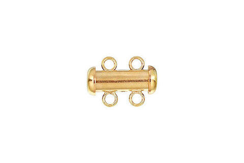 Gold-Filled 2-Strand Tube Clasp, 4.3x15.0mm