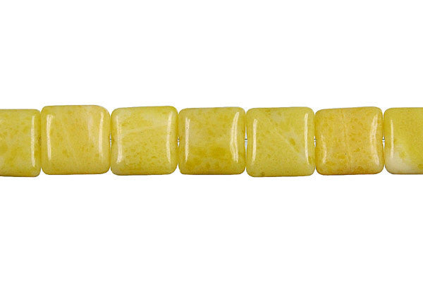 Lemon Jade Flat Square Beads
