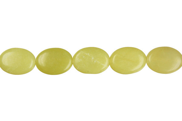 Olive Jade (Light) Flat Oval Beads