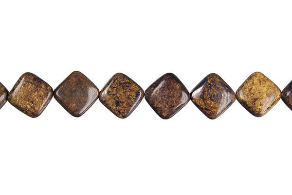 Bronzite Diamond Square Beads