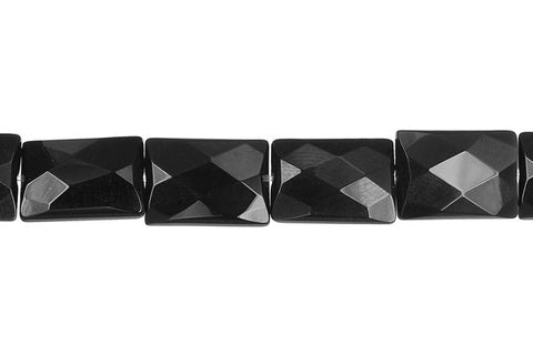 Black Onyx (AAA) Faceted Rectangle Beads