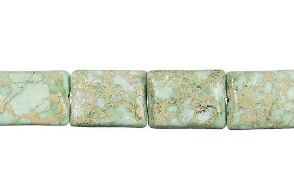 Aqua Terra Jasper (Turquoise) Flat Rectangle (B) Beads