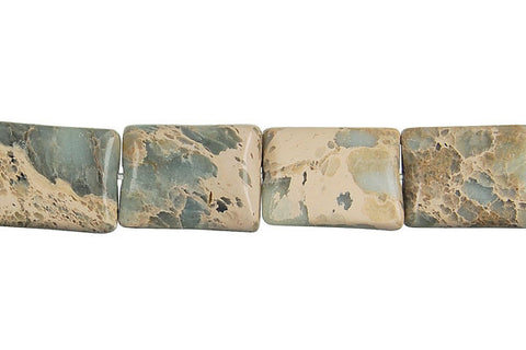 Aqua Terra Jasper Flat Rectangle (Square Corner) Beads