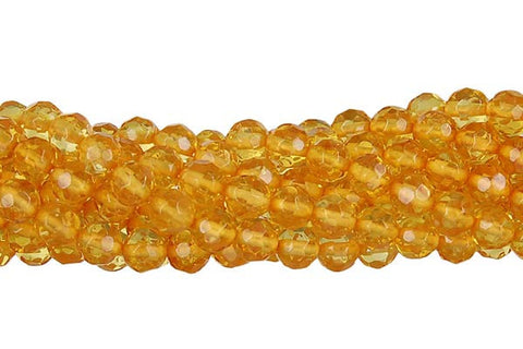 Amber Faceted Round (Light) Beads