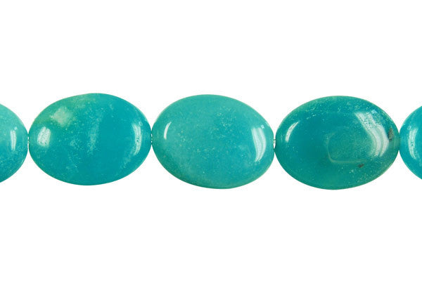 Amazonite Flat Oval (Dark) Beads