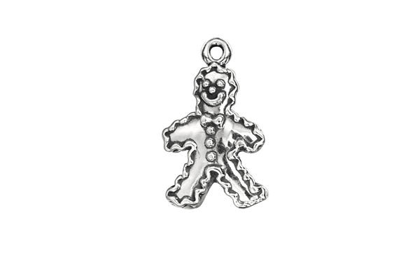 Sterling Silver Gingerbread Man Charm, 18.0x12.0mm