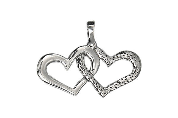 Sterling Silver Hearts Linked Charm, 16.0x30.0mm