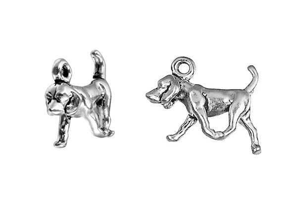 Sterling Silver Foxhound Charm, 10.0x14.0mm