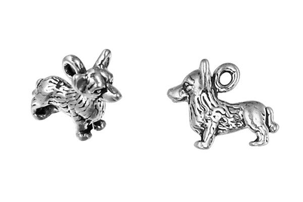 Sterling Silver Corgi Charm, 10.0x12.0mm