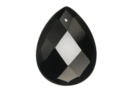 Pendant Black Onyx Faceted Flat Briolette