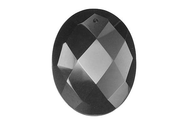 Pendant Black Onyx Faceted Flat Oval