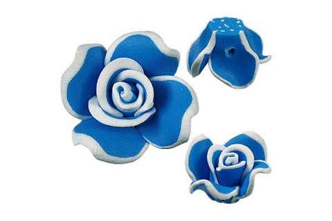 Pendant Poly Clay Flower (Blue 406)