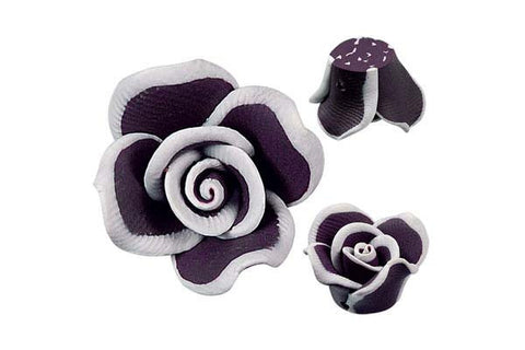 Pendant Poly Clay Flower (Dark Purple 406)