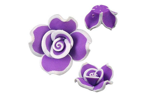 Pendant Poly Clay Flower (Purple 406)