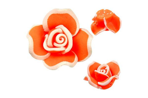 Pendant Poly Clay Flower (Orange 406)