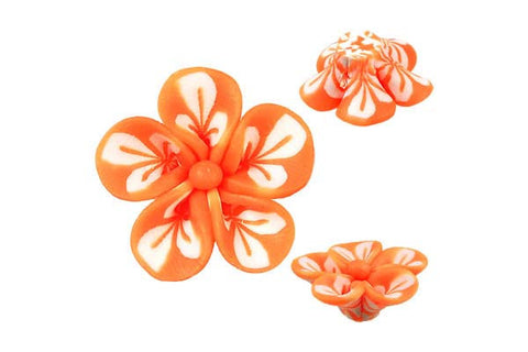 Pendant Poly Clay Flower (Orange 106)