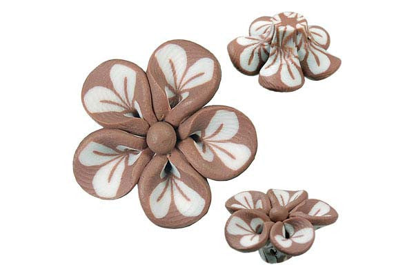 Pendant Poly Clay Flower (Brown 106)