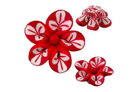 Pendant Poly Clay Flower (Red 106)