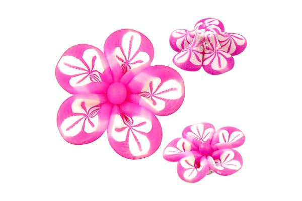 Pendant Poly Clay Flower (Hot Pink 106)