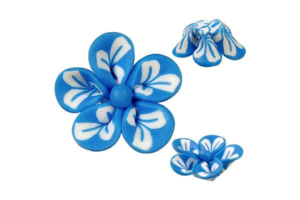 Pendant Poly Clay Flower (Blue 106)