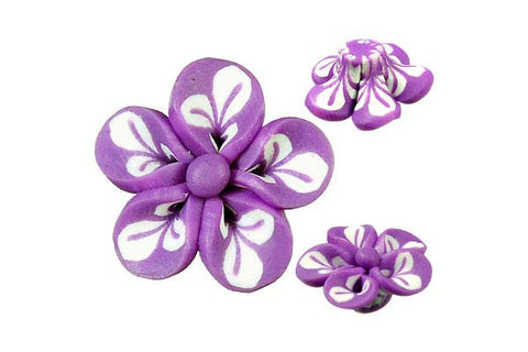 Pendant Poly Clay Flower (Purple 106)