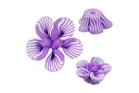 Pendant Poly Clay Flower (Purple 108)