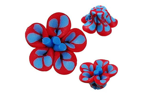 Pendant Poly Clay Flower (Red 108)