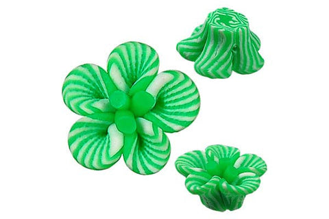Pendant Poly Clay Flower (Green 108)
