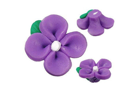 Pendant Poly Clay Flower (Purple 107)