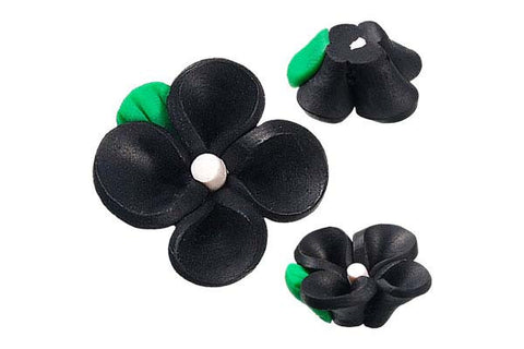 Pendant Poly Clay Flower (Black 107)