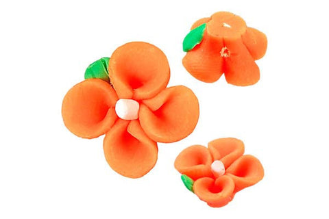 Pendant Poly Clay Flower (Orange 107)