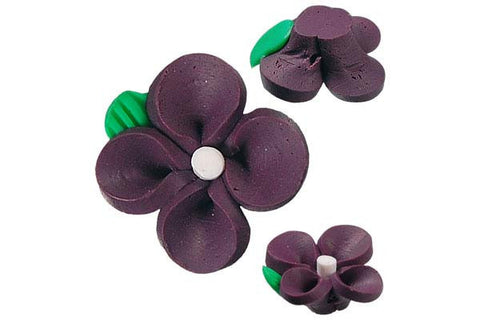 Pendant Poly Clay Flower (Dark Purple 107)