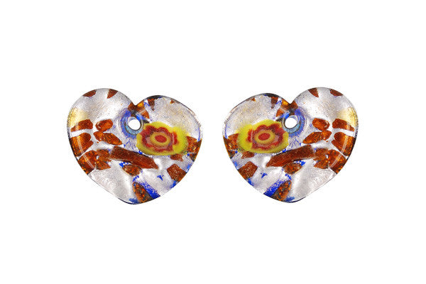 Murano Foil Glass Flat Heart Earrings (YH01)