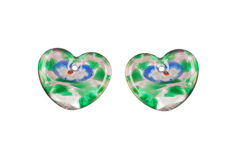 Murano Foil Glass Flat Heart Earrings (YH04)