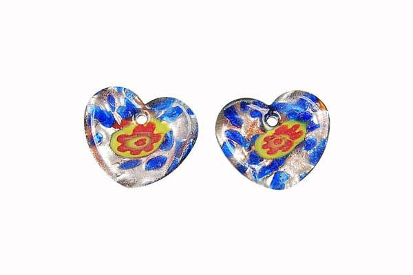 Murano Foil Glass Flat Heart Earrings (YH03)