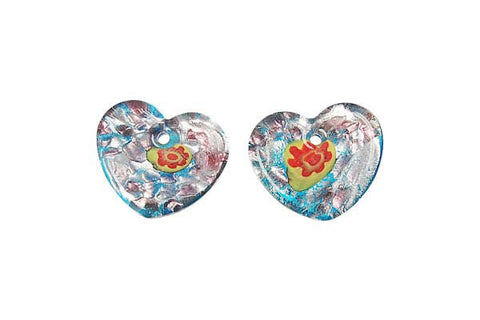 Murano Foil Glass Flat Heart Earrings (YH06)