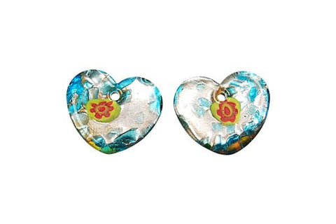 Murano Foil Glass Flat Heart Earrings (YH05)