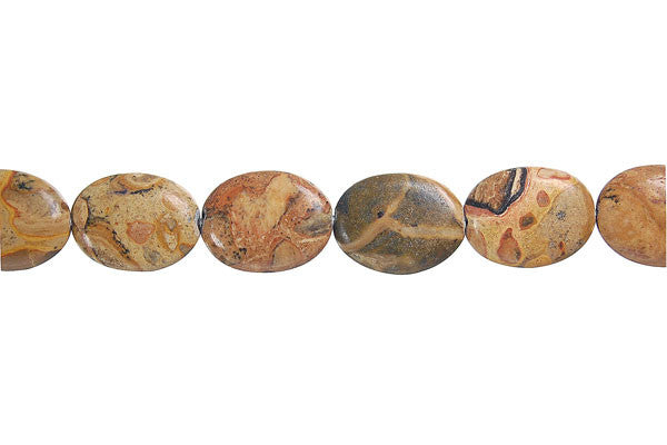 New Picture Jasper Flat Oval Beads