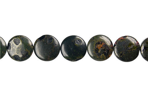 Black Leopardskin Jasper Coin Beads